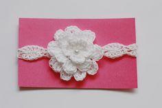Crochet Baby Headband with Flower, White Crochet Headband, Baby Girl, Christening Baptism. $10.00, via Etsy.