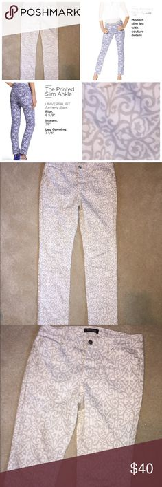 NWOT! WHBM slim ankle printed jeans! NWOT WHBM Slim ankle print jeans. White with light gray design. White House Black Market Jeans Ankle & Cropped
