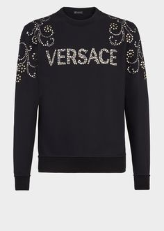 Metal Stud Versace Logo Sweatshirt from Versace Men's Collection. Cotton sweatshirt with metal studs in a mix of Baroque shapes, metallic detailed shoulder designs and Versace logo lettering. Logo Versace, Versace Men, Girl Sweat, En Stock, Cool Hoodies, Fashion Pictures, Mens Sweatshirts, Shirt Style, Mens Fashion