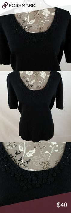 Liz Claiborne Woman Liz claiborne woman cotton and linen short sleeve knit top with beautiful flower applique around front collar. 22in armpit to armpit, sleeve 9 1/2in, 26 1/2 in length. Black. Liz Claiborne Tops