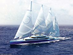 Wind power: Project Atlas, a collaboration by UK studios H2 Yacht Design and Laurent Giles Superyacht Architects, features sails to save on fuel and limit its impact on the environment