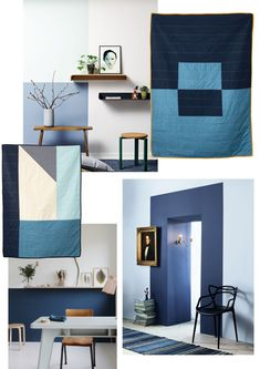 Size medium and baby Deep Blue, Light Blue, Blue Quilts, Geometric Shapes, Baby Blue, Cribs, Things To Come, Couch, Warm