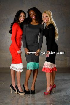 www.SexyModest.com Super cute skirt extenders!! Y didn't I think of this! Awesome