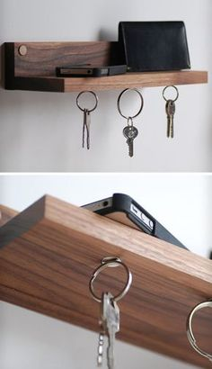 16 Key Holders To Keep You Organized | Super strong magnets keep your keys connected to this shelf, perfect for keeping your things all in one place.