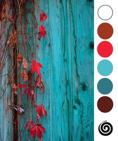 39. paletka. Výtvarné zážitky. Turquoise red colours combo. Autum, Winter.