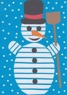 Sněhulák – roláž Bee Crafts, Diy And Crafts, Crafts For Kids, Arts And Crafts, Virtual Art, Snowman Ornaments, Art School, Kids And Parenting, Kids Playing