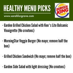 Healthy menu options at Burger King. | www.sarahforgrave.com