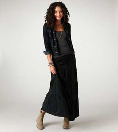 jean jacket, maxi skirt and ankle boots