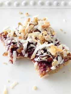 Skinny Blackberry Coconut Oat Bars- coconut sugar and homemade blackberry jam to sub, please.