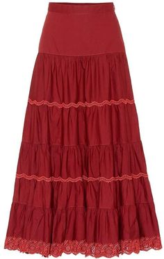 Fleet Cotton Maxi Skirt by Ulla Johnson Cotton Maxi Skirts, Boho Skirts, Red Skirts, Skirt Fashion, Fashion Outfits, Skirt Pattern Free, Peasant Skirt, Ulla Johnson, Classy Outfits