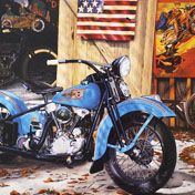 Scott Jacobs artist. Has a passion for Harleys as seen in many of his paintings.