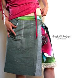 Twill wrap skirt KS087 by KayLim on Etsy, $80.00