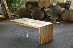 Wood Tables Embedded with Glass Rivers by Greg Klassen12