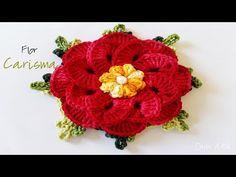 FLOR CARISMA DE CROCHÊ - YouTube Crochet Flower Tutorial, Crochet Flower Patterns, Crochet Designs, Crochet Mat, Love Crochet, Learn To Crochet, Crochet Bedspread, Knitted Flowers, Crochet Videos
