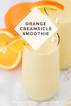 This sweet and refreshing orange creamsicle smoothie is perfect for an easy breakfast or afternoon snack! Filled with fruit and yogurt, it's a healthy and flavorful way to enjoy your favorite frozen creamsicle drink! Orange Creamsicle Smoothie Recipe, Berry Smoothie Recipe, Orange Smoothie, Easy Smoothie Recipes, Easy Smoothies, Healthy Recipes, Smoothie Drinks, Drink Recipes, Recipes Using Rotisserie Chicken