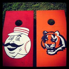 Cincinnati Reds & Cincinnati Bengals cornhole boards handpainted