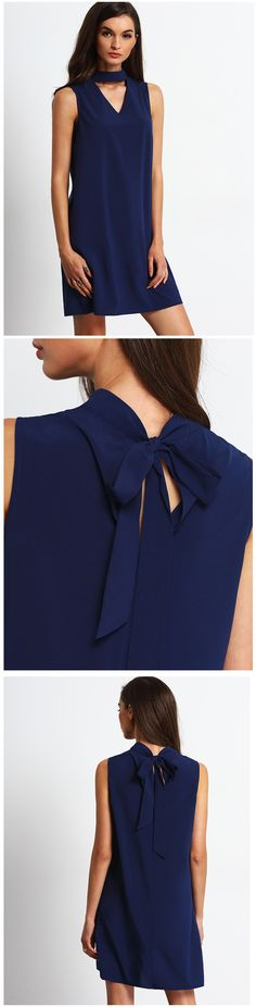 Royal Blue Keyhole Front Self-tie Back Shift Dress