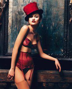 Sexy Red Vintage Styled Lingerie - Sheer Lace Demi Bra & High Waist Garter Belt/Panties