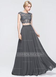 [R$ 498.09] Vestidos princesa/ Formato A Decote redondo Longos Tecido de seda Vestido de baile com Beading lantejoulas (018089725)