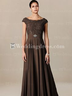 in mocha though? Elegant Off-the-Shoulder Mother of the Bride Dress MO240