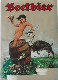 Original vintage poster BOCK-BEER KID & BILLY-GOAT c.1900
