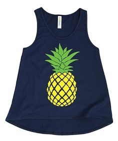 This Navy Pineapple Hi-Low Tank - Toddler & Girls is perfect! #zulilyfinds