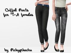 Pickypikachu: Cuffed Pants for teen-adult females