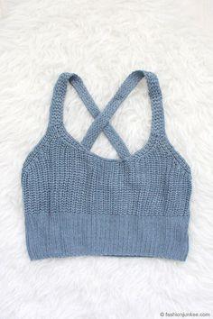 Knit Crochet Cropped Tank Top-Blue