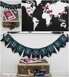 World Traveler, plane, transportation, countries, explore, travel, adventure, passport, plaid, houndstooth, classroom theme and decor. ~Classroom decor by Schoolgirl Style www.schoolgirlstyle.com