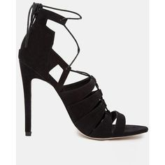 ASOS HEARTBREAK HOTEL Lace-up Heeled Sandals (1 520 UAH) ❤ liked on Polyvore featuring shoes, sandals, heels, outfits, black, strap heel sandals, ankle strap shoes, high heels stilettos, black strap sandals y ankle strap stilettos