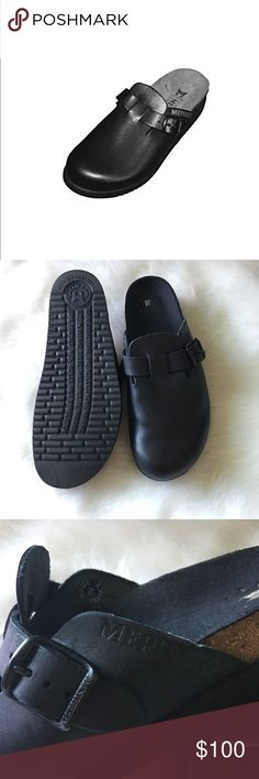 """Woman Mephisto Halina Black Very good condition, has just a little difect (see pic )👆🏻.                                                                        The Halina clog features a adjustable buckle, cork midsole, rubber outsole and is so comfortable these clogs can be worn all day long.   Leather Heel measures approximately 1 inches"""" Leather Latex sole Heel measures approximately 1"""" The Halina clog features a adjustable buckle, cork midsole, rubber outsole and is so comfortable these…"""