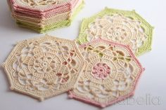 These vintage crochet coasters are elegant and the colors are so soft and delicate.