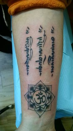 """Learn from yesterday, Live for today , hope for tomorrow"" in Tibetan Sanskrit with Lotus and ohm symbol. #buddhist"