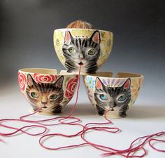 Yarn Bowl  Made to Order Knitty Kitty Cat knitting by MaidOfClay, $70.00
