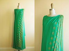 1960s Dress - Vintage 60s Dress - Emerald Green Chiffon Gold Sari Draped Goddess Maxi Gown M - Green Tea by jumblelaya on Etsy https://www.etsy.com/listing/205819194/1960s-dress-vintage-60s-dress-emerald