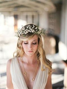 Long Wavy #Hairstyle Bohemian Wedding Hair, Beach Wedding Hair, Wedding Hair Flowers, Flowers In Hair, Bohemian Bride, Fresh Flowers, Summer Wedding, Garden Wedding, Hippie Bride