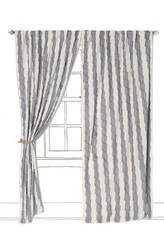 bamboo-blended cotton is pleated and stitched with wide-set stripes printed upon it.