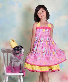 Take a look at this Yellow & Pink Nature Sassy Dress - Infant, Toddler & Girls by Jelly the Pug on @zulily today!