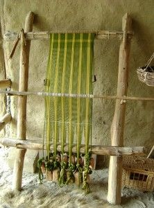 "Warping vertical loom with tablet woven ""third border"""