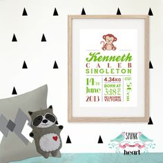 "This unique Birth Stat Print makes the perfect piece of beautiful treasured keepsake artwork for baby or child's nursery or room. Perfect for a newborn gift or special keepsake that will be treasured for many years!  FREE SHIPPING Australia wide  DETAILS OF THE PRINT (available in 2 sizes): 8x10"" (20x25cm) Size Print unframed on A4 paper, with the image sized to fit an 8x10"" mattboard. Customised with your child's unique details and your colour choice. Packaged with cardboard backing ..."