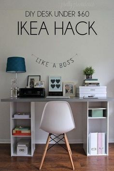Create this unique, functional and decorative desk for your home office inspired by IKEA hacks! What you need are two small bookshelves from Target ($18 each) and a big butcher block desk top or a counter top from IKEA. Low-budget with high impact DIY home office ideas! #homeofficeideasfortwo