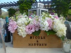 Our personalized wine box centerpieces!