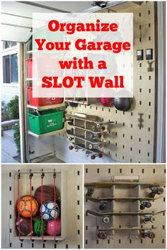 Organize your garage with something better than a peg board or shelves ~ a DIY slot wall ~ genius!