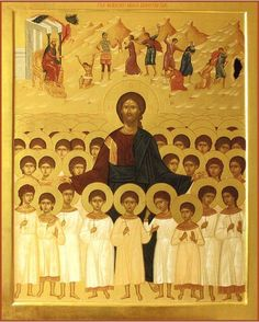 Icon of Christ and the Holy Innocents ( source ) An Orthodox Prayer for the Victims of Abortion O Lord Jesus Christ, the only-begott. Religious Pictures, Religious Icons, Religious Art, Byzantine Icons, Byzantine Art, Orthodox Prayers, Art Icon, Catholic Saints, Orthodox Icons