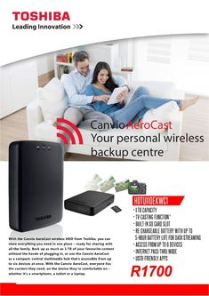 Toshiba Wireless External Hard Drive Special 1 TB capacity Built-in SD card slot Re-chargeable battery with up to 5 hours battery life Hdd, Sd Card, Cards, Maps