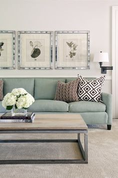 A gorgeous seating area with a mint sofa and rustic wood coffee table. By Tobi Fairley Design