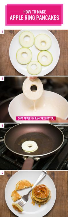 Apple Ring Pancakes by cosmopolitan #Pancakes #Apple_Ring #brunch #recipe #breakfast #recipes #easy