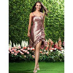 Bridesmaid Dress Asymmetrical/Knee-length Taffeta Sheath/Column Sweetheart/Spaghetti Straps Dress – USD $ 89.99