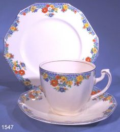 Alfred Meakin Art Deco Floral Border Tea Trio