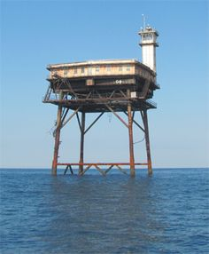 Diamond Shoal Light off-shore lighthouse marking Diamond Shoals off Cape Hatteras.